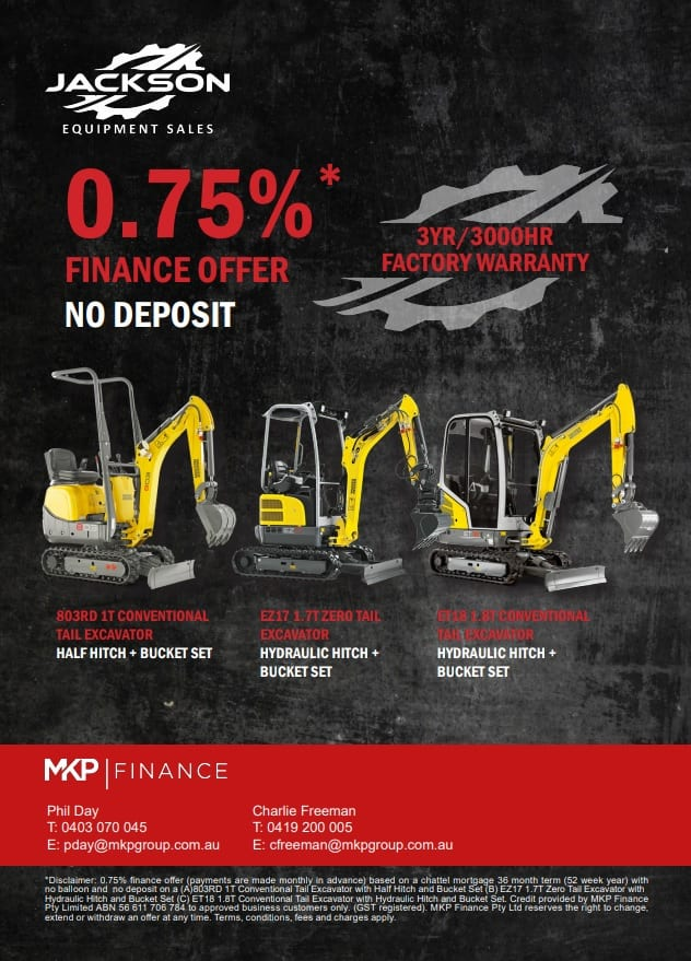 0.75% Finance offer on 1T – 1.8T Wacker Neuson Range