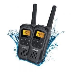 UHF CB Handheld 2-Way Radio - 80Ch. 2W Waterproof IPX7 Portable Twin Pack
