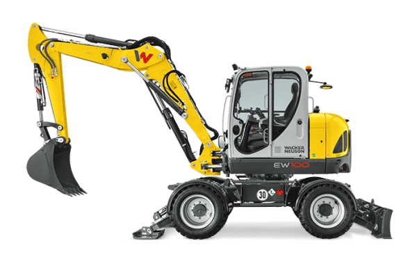 EW100 Wheeled Excavator - Incl. Easy Lock Hitch