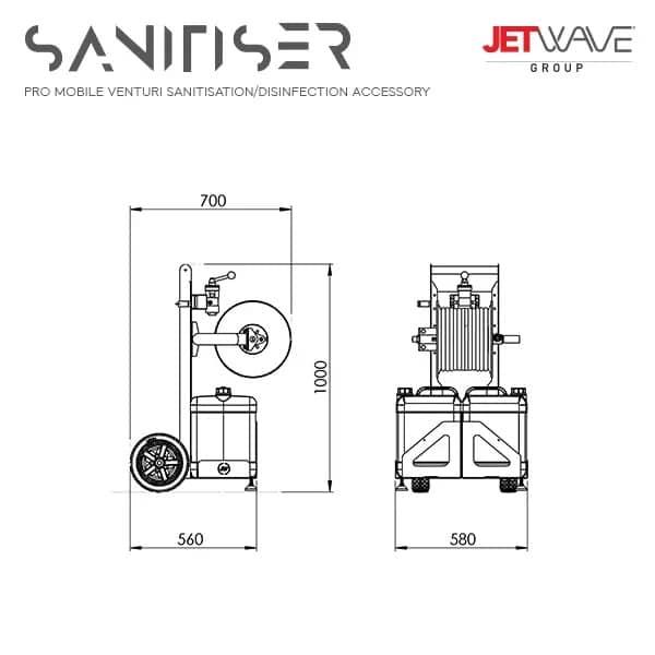 Jetwave Pro Mobile Venturi Sanitisation Trolley